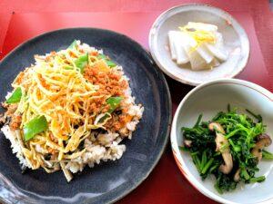 11日 炊き込みチラシ寿司、クレソンと椎茸の和え物、大根の即席漬け